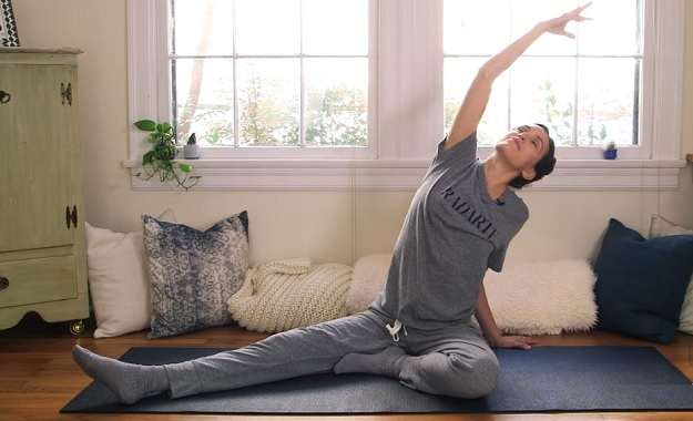 Bedtime yoga video for restful sleep