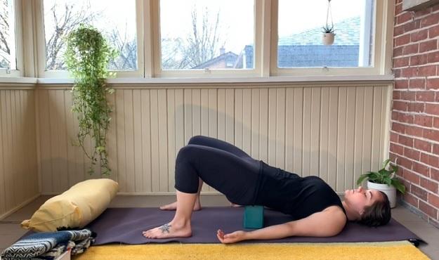 Supported Bridge Pose tutorial