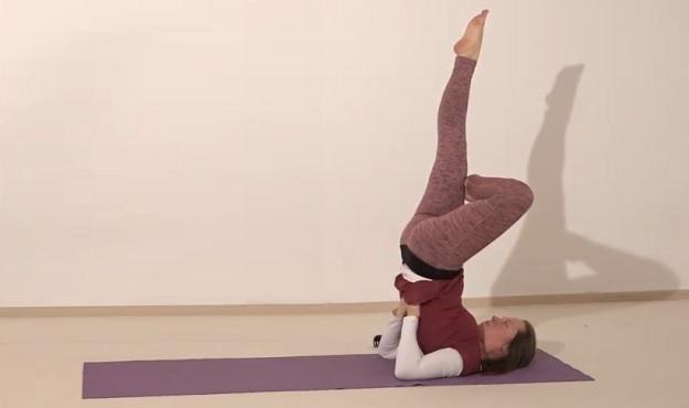 Half-Lotus in Shoulder Stand Pose tutorial
