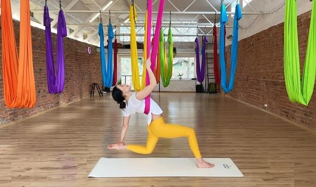 Aerial yoga video class
